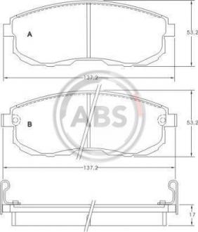 Тормозные колодки дисковые 1 комплект A.B.S. 36691