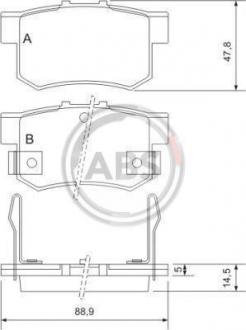 Тормозные колодки дисковые 1 комплект A.B.S. 36712