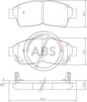 Тормозные колодки дисковые 1 комплект A.B.S. 36777