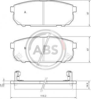 Тормозные колодки дисковые 1 комплект A.B.S. 37362