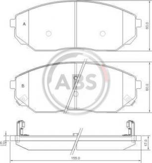 Тормозные колодки дисковые 1 комплект A.B.S. 37364