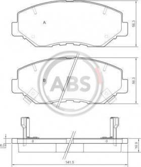 Тормозные колодки дисковые 1 комплект A.B.S. 37424