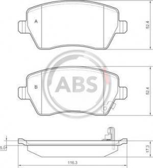 Тормозные колодки дисковые 1 комплект A.B.S. 37478
