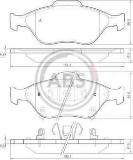 Тормозные колодки дисковые 1 комплект A.B.S. 37546