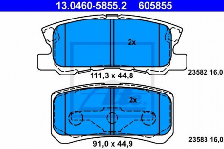 Комплект тормозных колодок, дисковый тормоз 13.0460-5855.2