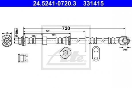 24.5241-0720.3 ATE Тормозной шланг