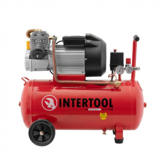 Компрессор 50 л, 3 кВт, 220 В, 8 атм, 420 л/мин, 2 цилиндра. INTERTOOL PT-0007