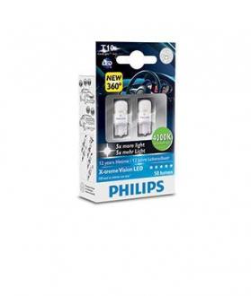 Лампа накаливания W5W, 0.9W, 12V, w2.1x9.5d, 4000 К, X-tremeVision LED (пр-во Philips) 127994000KX2