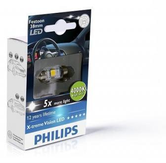 Лампа вспомогат. освещения T10,5x38 12V SV8.5-8 (10,5x38) Vision LED 4 000 K(пр-во Philips) 128584000KX1
