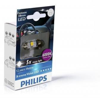 Лампа вспомогат. освещения T10,5x38 12V SV8.5-8 (10,5x38) BlueVision LED 6 000 K(пр-во Philips) 128596000KX1