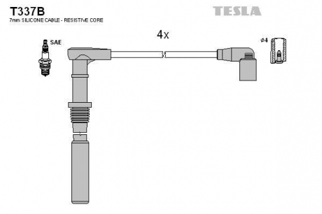 Комплект высоковольтных проводов T337B