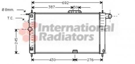 Радиатор охлождения DAEWOO NEXIA 15 MT - AC 94- (Van Wezel) 81002001
