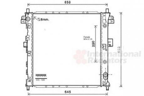 Радиатор охлаждения SSANG YONG ACTYON/ KYRON (05-) (Van Wezel) 81002105