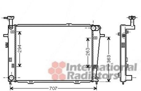 Радиатор охлаждения двигателя TUCSON/SPORT.2 20i MT 04- (Van Wezel) 82002210